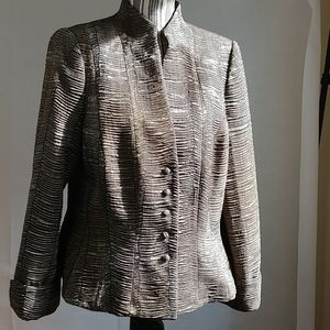 Carmen Marc Valvo Olive Sequined Blazer Sequin 16